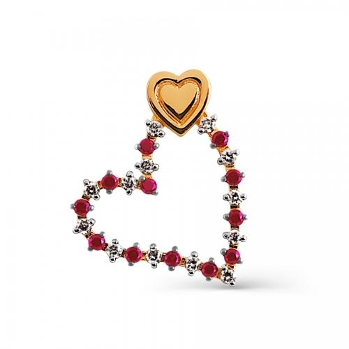 Золотая подвеска Сердце с рубинами, бриллиантами