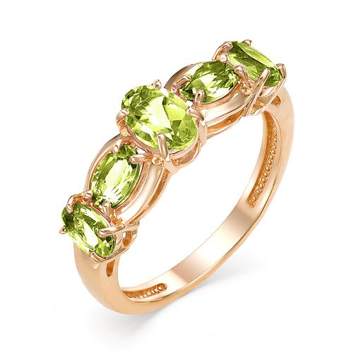 Кольцо из красного золота с хризолитом
