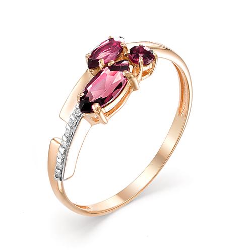 Кольцо из красного золота с родолитом