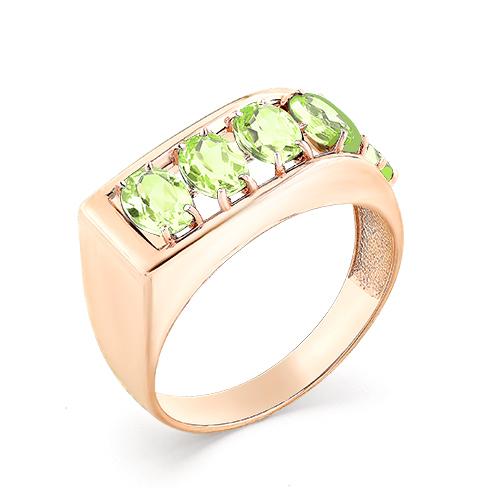Мужское кольцо из красного золота с хризолитом