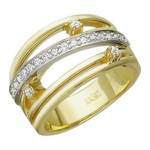 01К682597 женское кольцо из комбинированного золота c бриллиантом