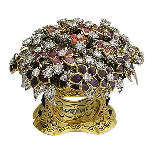 01К684525ЭZL женское кольцо букет из комбинированного золота c эмалью, бриллиантом