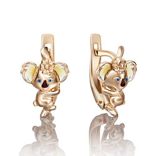 Детские золотые серьги с эмалью