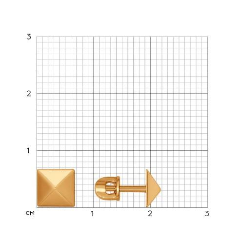 26984 золотые серьги гвоздики геометрия без камней sokolov