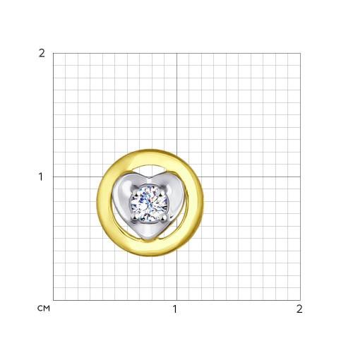 034995-2 подвеска из желтого золота с фианитом
