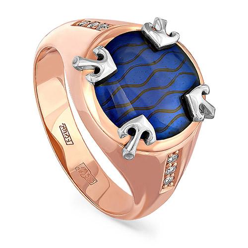 Мужское кольцо из красного золота 585 пробы с бриллиантами