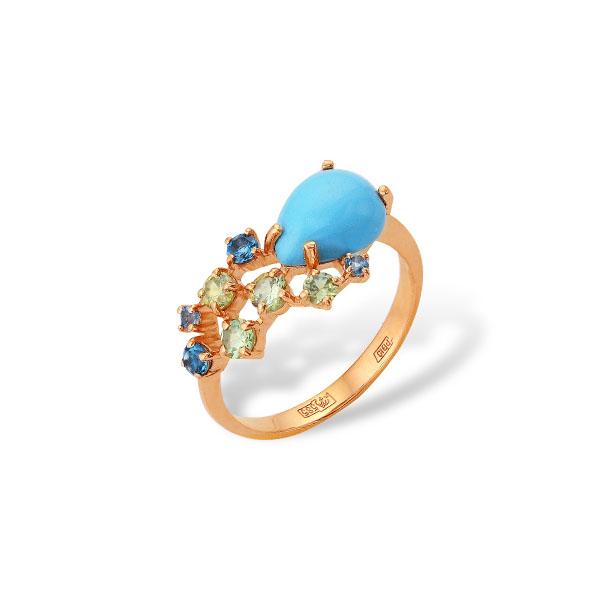 Кольцо из золота 585 пробы с бирюзой, демантоидом, топазами