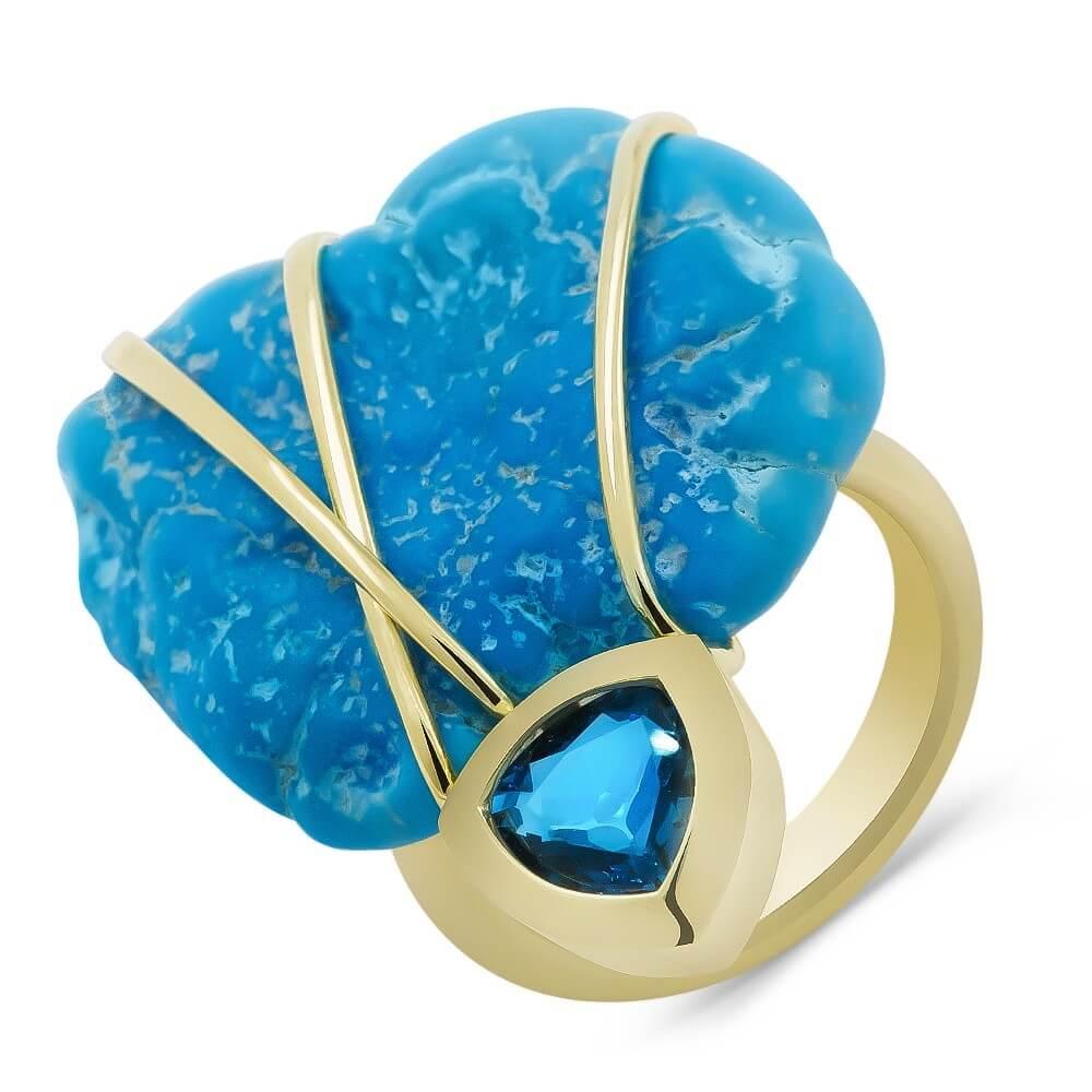 Эксклюзивное кольцо из жёлтого золота с бирюзой и топазом