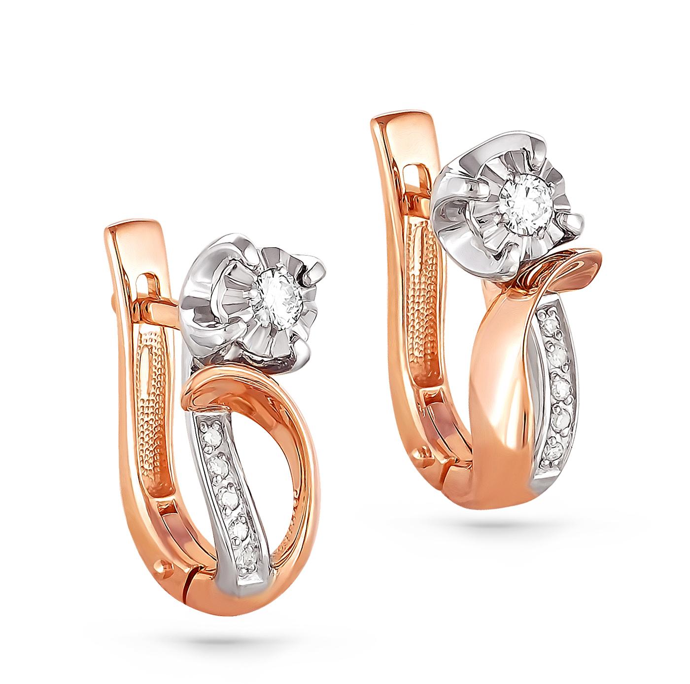Т-36189 золотые серьги c бриллиантом