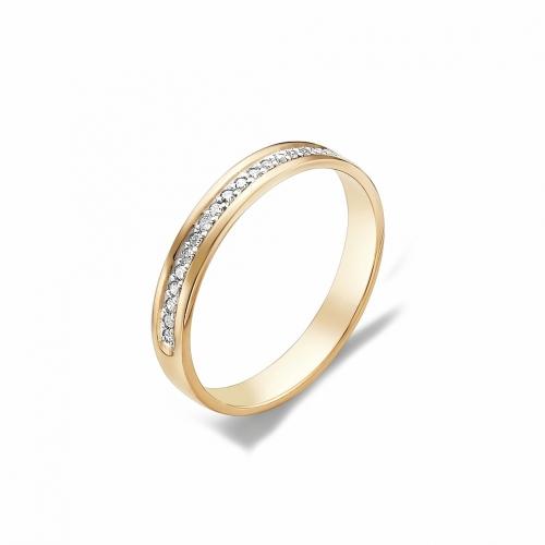 Обручальное кольцо с дорожкой бриллиантов 17 граней