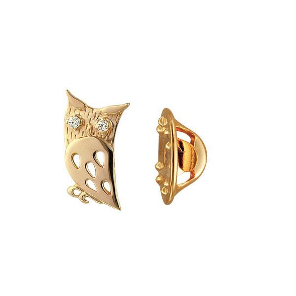 Значок Сова из красного золота с фианитами