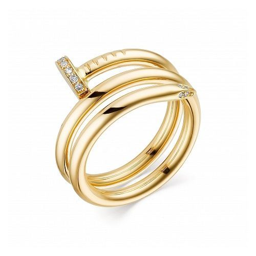 Женское кольцо из желтого золота с бриллиантом