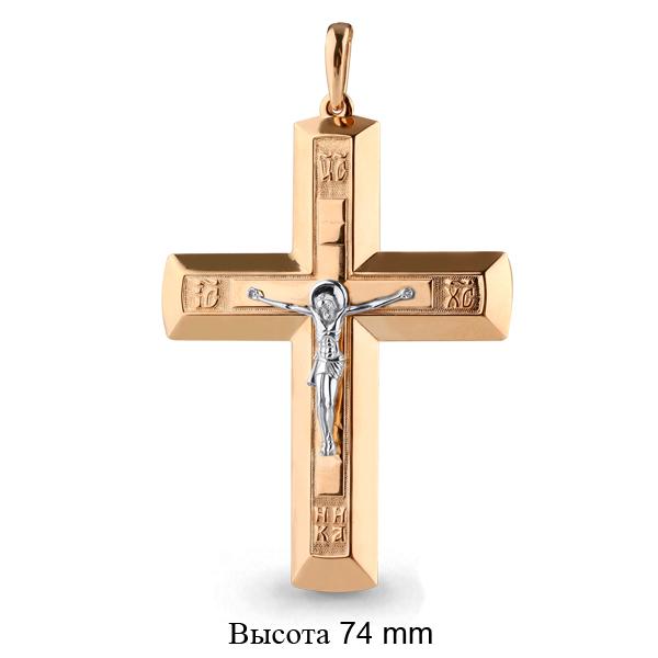 Т-26296 мужской золотой крестик без камней