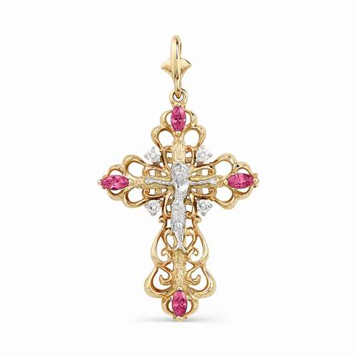 3270-103 ажурный крестик из золота с рубинами