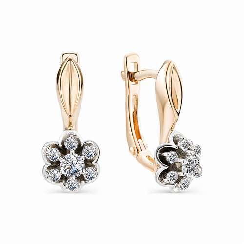 21104-100 золотые серьги цветы с бриллиантами
