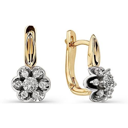 21050-100 серьги в виде цветов с бриллиантами
