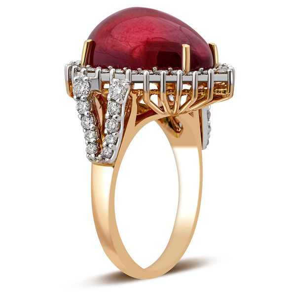 Т-39866 кольцо из красного золота с бриллиантами и рубином