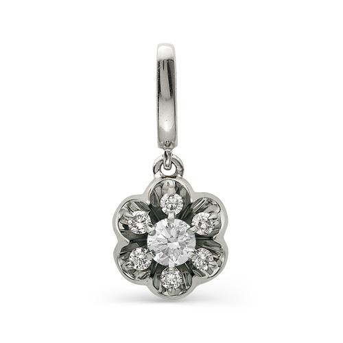 3284-200 подвеска цветок из белого золота с бриллиантами