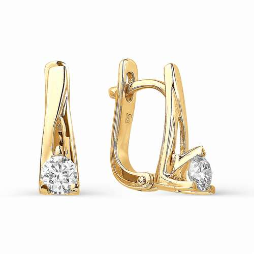 Т-20182 золотые серьги с бриллиантами диаметром 4 мм.