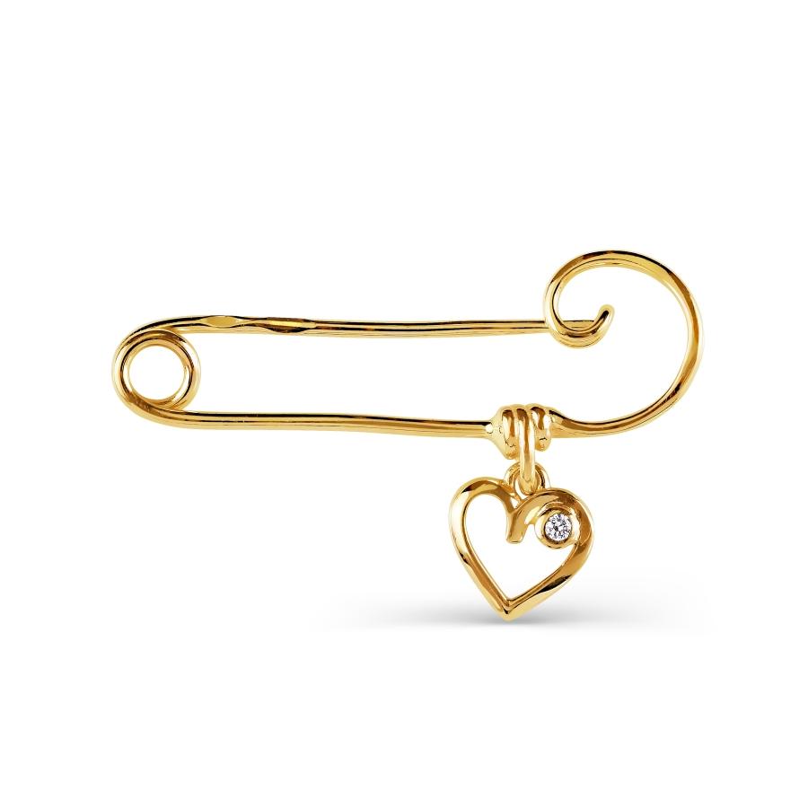 Т90209113 булавка сердце из желтого золота с фианитами