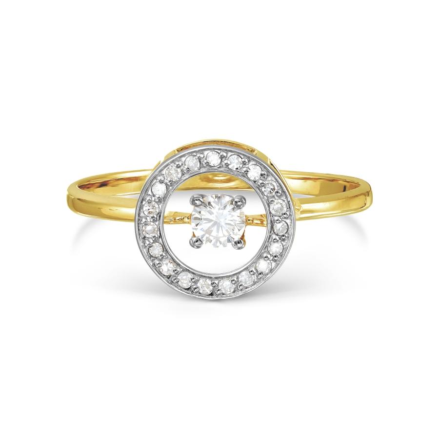Т941017516 кольцо из желтого золота с танцующим бриллиантом