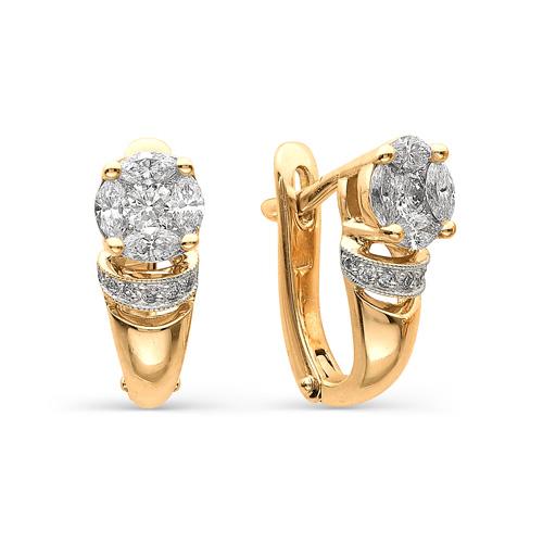 21105-100 золотые серьги с бриллиантами