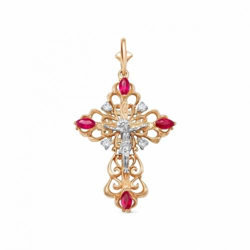 Ажурный крестик из золота с рубинами