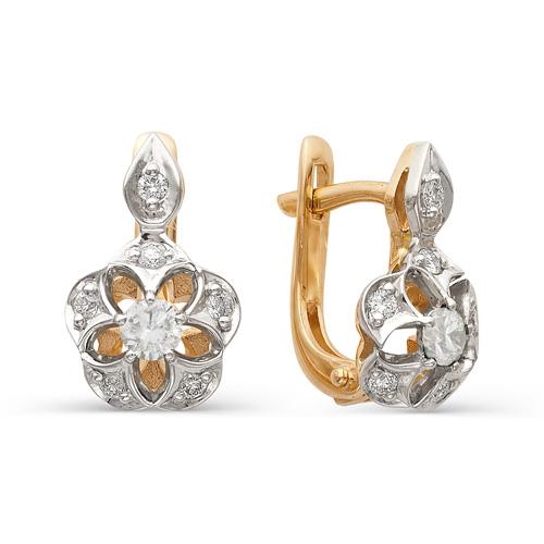 21301-100 золотые серьги цветы с бриллиантами