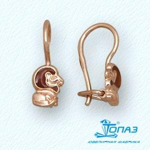 Т15002931 детские золотые серьги лев с эмалью