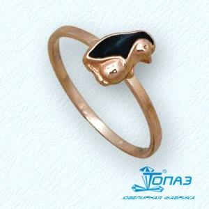 Детское золотое кольцо Пингвин с эмалью