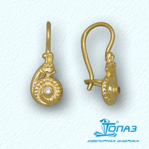 Т90202886 детские серьги улитки из желтого золота с фианитами