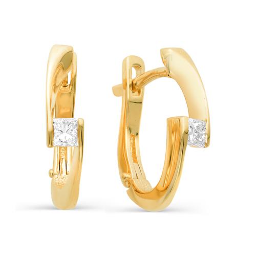 Т-20045 серьги из желтого золота с бриллиантами