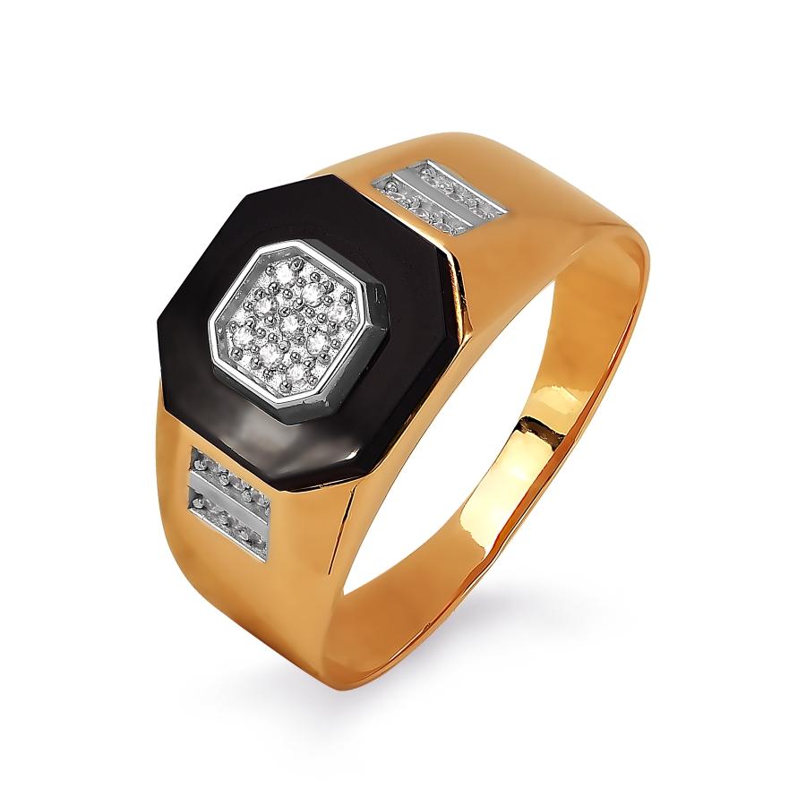 Т142045399 золотая печатка с ониксом, фианитами