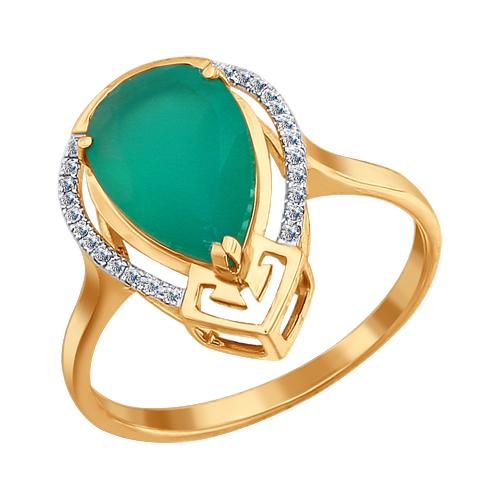 Кольцо из золота с зеленым агатом SOKOLOV