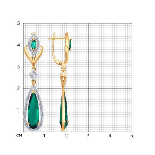 Золотые серьги-висюльки (Бриллиант, ГТ изумруд) SOKOLOV