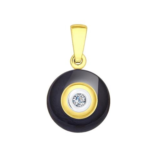 Подвеска из желтого золота (Бриллиант, Керамика) SOKOLOV
