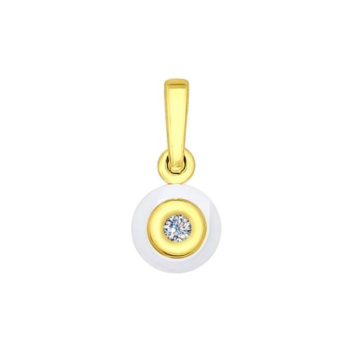 Подвеска из желтого золота (Керамика, Бриллиант) SOKOLOV