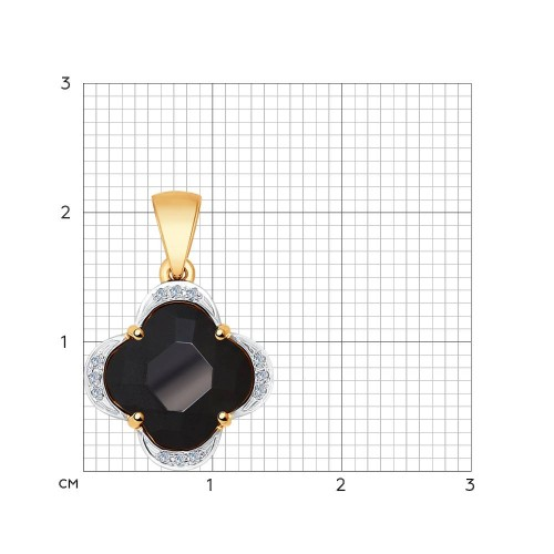 Золотая подвеска Четырехлистник (Керамика, Бриллиант) SOKOLOV