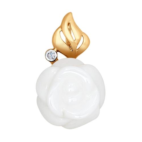 Золотая подвеска Роза (Керамика, Бриллиант) SOKOLOV