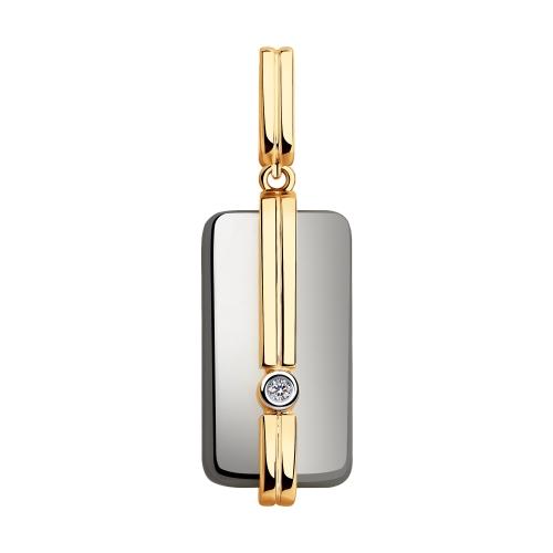 Подвеска из золота с бриллиантом и керамическими вставками Sokolov