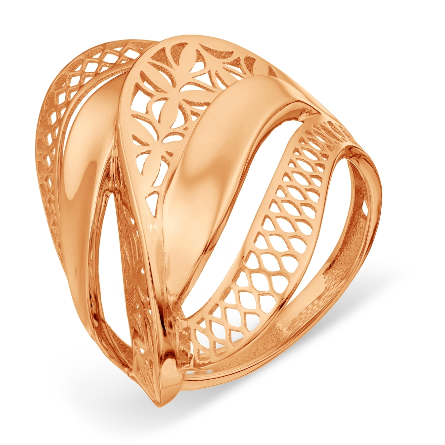 Т100018437 золотое кольцо без камней