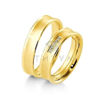 Т-27791 золотые парные обручальные кольца (ширина 5 мм.) (цена за пару)