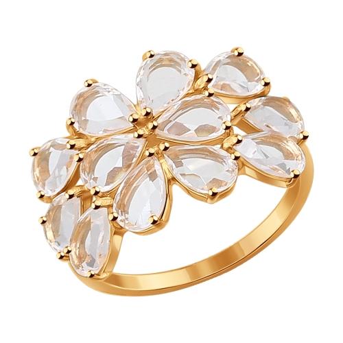 Золотое кольцо с горным хрусталем SOKOLOV