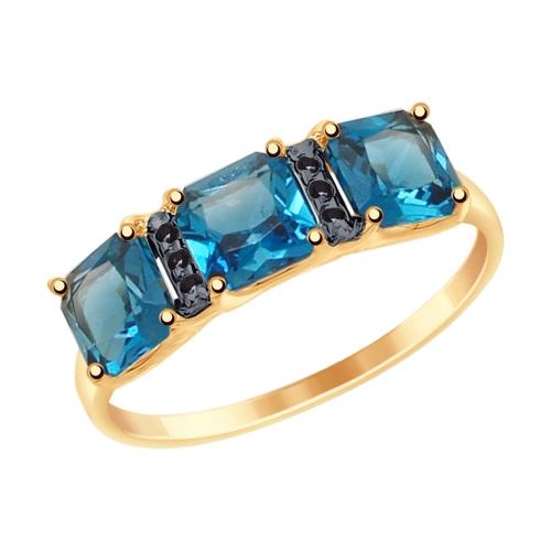 715023 кольцо из золота с синими топазами и фианитами