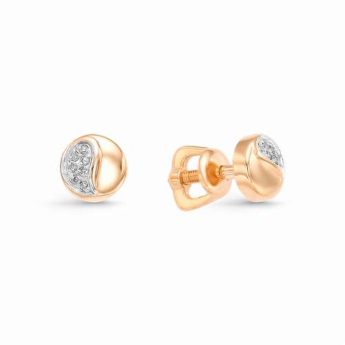 22507-100* золотые пусеты (бриллиант)