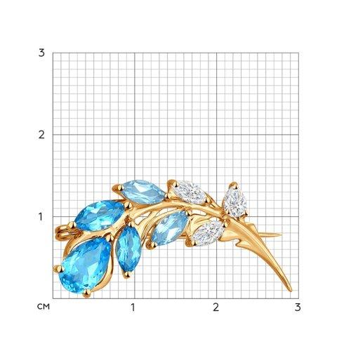 Золотая брошка Цветок с топазом SOKOLOV