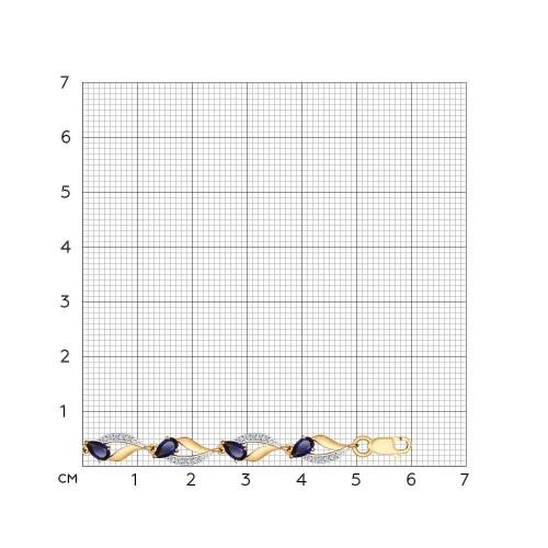 750233 золотой браслет (корунд, фианит) sokolov