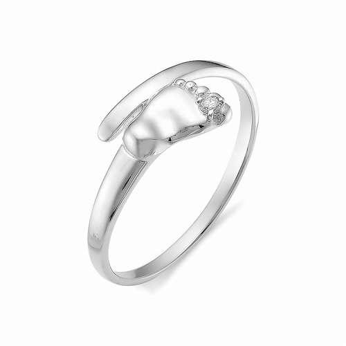 12252-200 кольцо ножка младенца из белого золота (бриллиант)