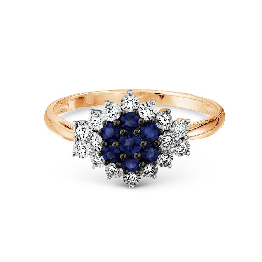Т145617667 золотое кольцо с сапфиром и бриллиантом