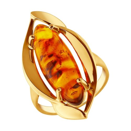 Кольцо из золочёного серебра с янтарём